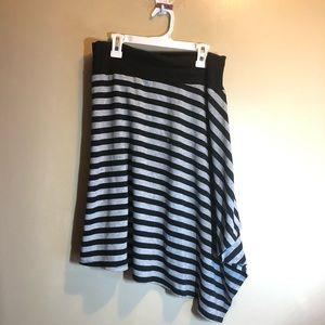 comfy grey and black striped asymmetrical skirt